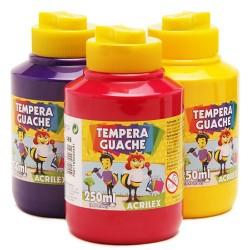Tinta Guache pote com 250 ml -Cores Sortidas
