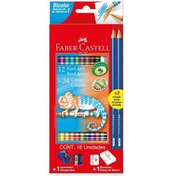 Lápis de Cor Faber-Castell Lápis de Cor Faber-Castell Bicolor 12 Lápis – 24 coresBicolor 12 Lápis – 24 cores