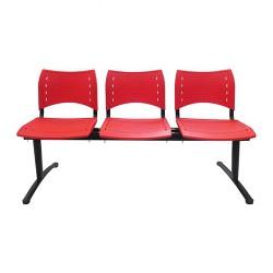 Cadeira Longarina com 3 Lugares  Executiva- Vermelha