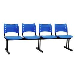 Cadeira Longarina com 4 Lugares  Executiva- Vermelha